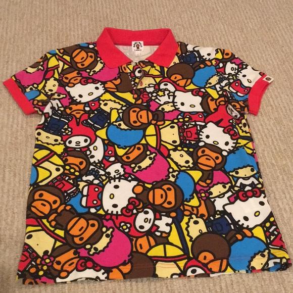 197a924df A Bathing Ape Tops | Bape Baby Milo X Sanrio Hello Kitty Polo Size S ...
